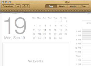iCal is even the example on the Wikipedia article on skeuomorphism.