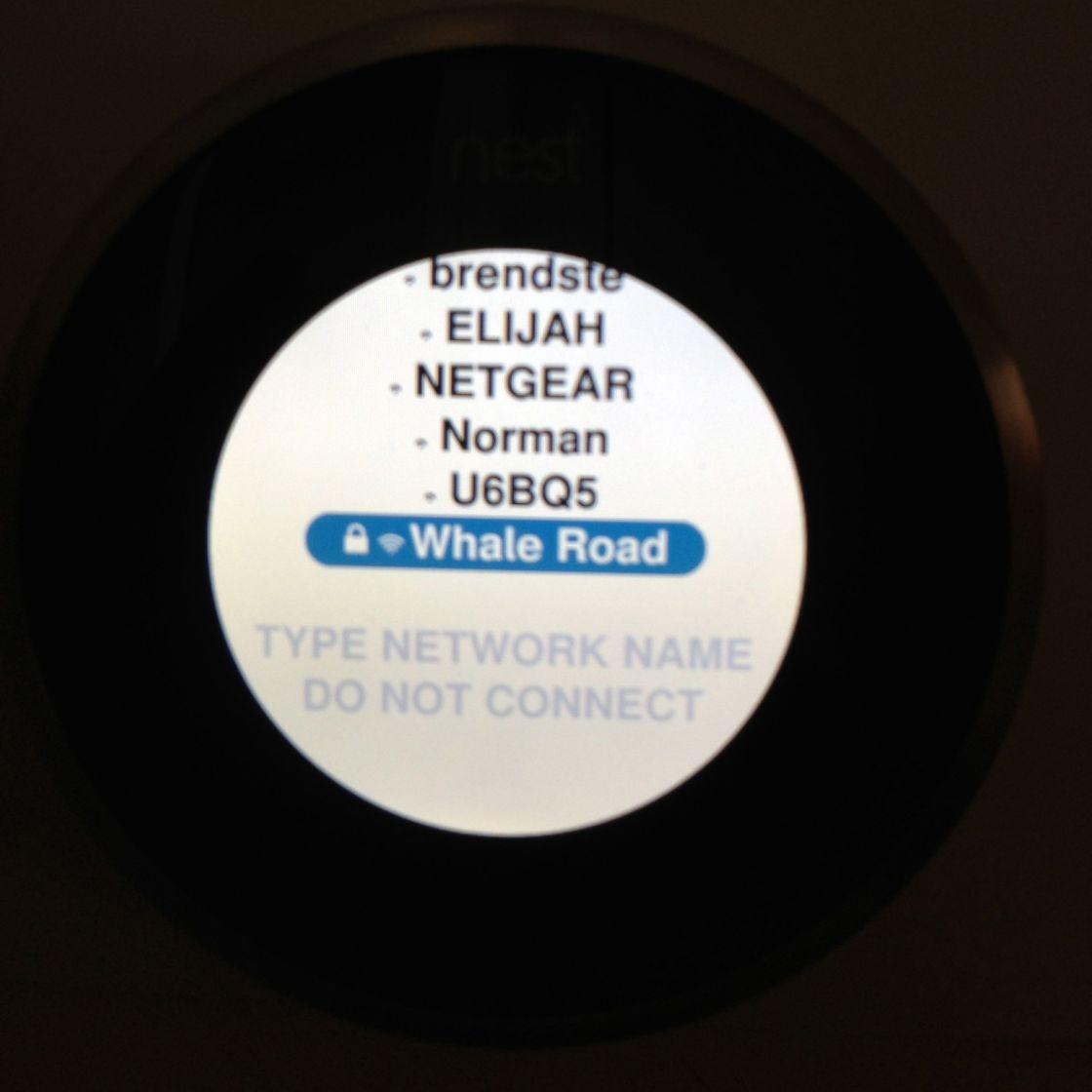 Nest Setup SSID