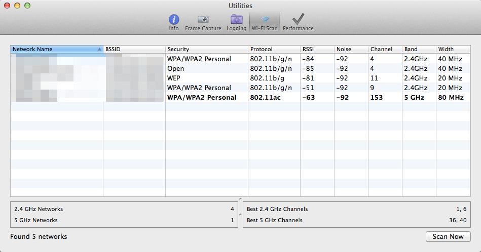 Wi-Fi Scanner for Mac OS X Mavericks